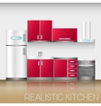 Kitchen interior with furniture in realistic style vector image