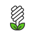 light bulb icon and leaf filled outline flat vector image