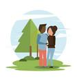 man and woman interracial couple hugging vector image vector image