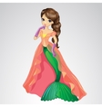 Mermaid In Transparent Long Cape vector image vector image