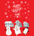 merry christmas congratulation rabbits and houses vector image