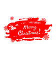 merry christmas text on grunge red background with vector image