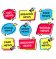 news label breaking live sport and fake news vector image