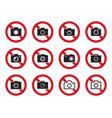 no photo icon set camera sign vector image vector image