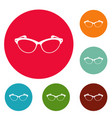 optical lens icons circle set vector image vector image