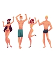 People dancing on the beach in swimming suits and vector image vector image