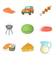 picnic icons set cartoon style vector image vector image