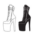 pole dance high heels boots silhouette erotic vector image