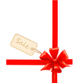 red gift bows with ribbons and sale labels vector image vector image