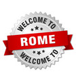 rome 3d silver badge with red ribbon vector image vector image