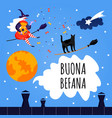 set icons for buona befana card cute witch vector image vector image