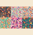 set of 6 seamless pattern with hand drawn vector image vector image