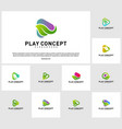 set of green play logo design concept nature play vector image vector image