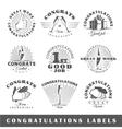 Set of vintage congratulations labels vector image