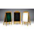 set realistic wooden easel or wood easels vector image