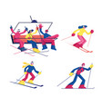 set skiing winter sport activity isolated on vector image