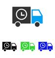 shipment schedule van flat icon vector image