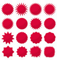 starburst seals set bursting rays clip art red vector image