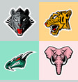 tiger dragon elephant set of images vector image