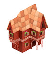 Toy two-storey house of red color gingerbread
