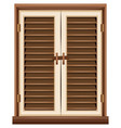 window design with brown frame vector image vector image