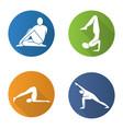 yoga asanas flat design long shadow icons set vector image