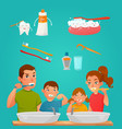 young family brushing teeth together vector image vector image