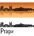 Prague skyline in orange background vector image