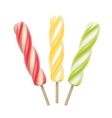 Set of Yellow Pink Green Ice Cream on Stick vector image
