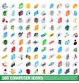 100 computer icons set isometric 3d style vector image vector image