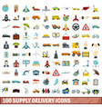 100 supply delivery icons set flat style vector image vector image