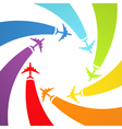 Background with rainbow airplanes vector | Price: 1 Credit (USD $1)