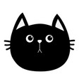 black cat head icon cute funny cartoon character vector image vector image