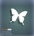 butterfly icon symbol on the blue-green abstract vector image