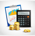 Calculator and golden coins vector image