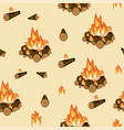 campfire burning wood and flame seamless pattern vector image