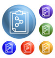 chemical checklist icons set vector image vector image