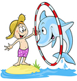 child playing with dolphin - cute - dolphin vector image vector image