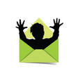 child silhouette in letter envelope vector image vector image
