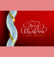 christmas red greeting card with luxury garland vector image