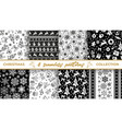collection of christmas seamless black and white vector image vector image