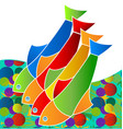 colorful freshwater fish life in the sea icon vector image vector image