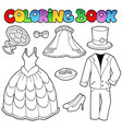 coloring book with wedding clothes vector image vector image