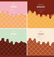 cream melted on wafer background set ice cream vector image vector image