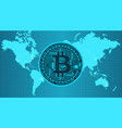crypto currency bitcoin in trendy blue colors vector image