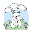 cute bear animal with flowers plants vector image vector image