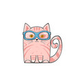 cute pink cat vector image vector image