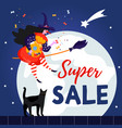 cute witch and cat for epiphany day happy befana vector image vector image