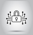 cyber security icon in flat style padlock locked vector image vector image