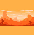 desert landscape with cactuses and mountains in vector image vector image